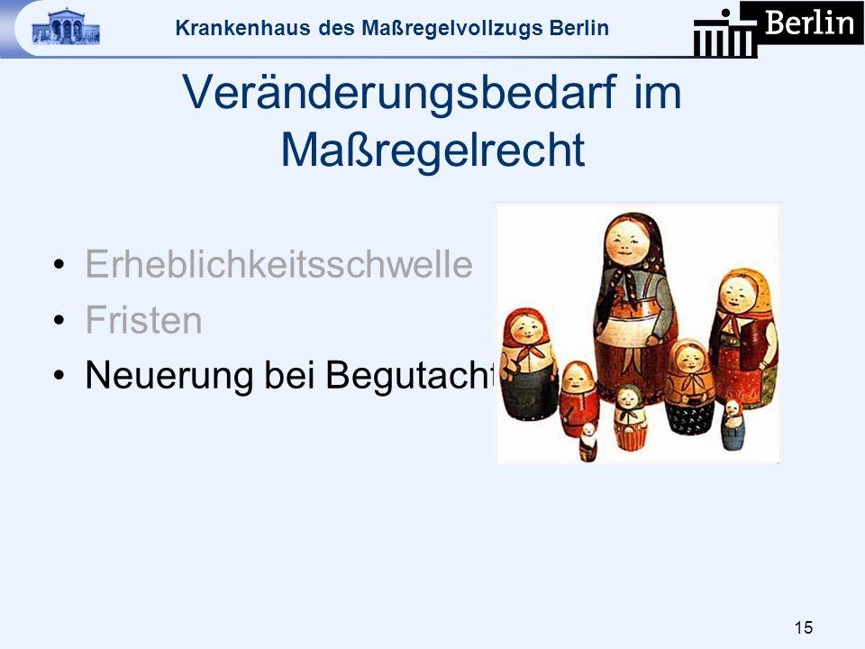 Krankenhaus des Maßregelvollzugs Berlin Veränderungsbedarf im Maßregelrecht Erheblichkeitsschwelle Fristen Neuerung bei Begutachtungen 15