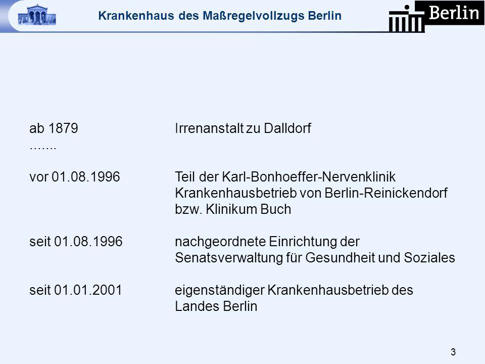 Krankenhaus des Maßregelvollzugs Berlin ZIELE Straffreiheit, psychische Stabilität, psychosoziale Re-Integration der forensischen Patienten und letztlich eine vollständige Überleitung in die Allgemein- / Gemeindepsychiatrie.