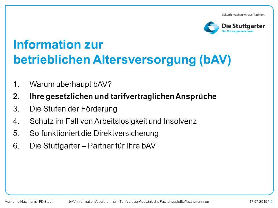 bAV Information Arbeitnehmer – Tarifvertrag Medizinische Fachangestellte/Arzthelferinnen17.07.2015 / 5 Vorname Nachname, FD Stadt Übersicht Information zur betrieblichen Altersversorgung (bAV) 1.Warum überhaupt bAV.