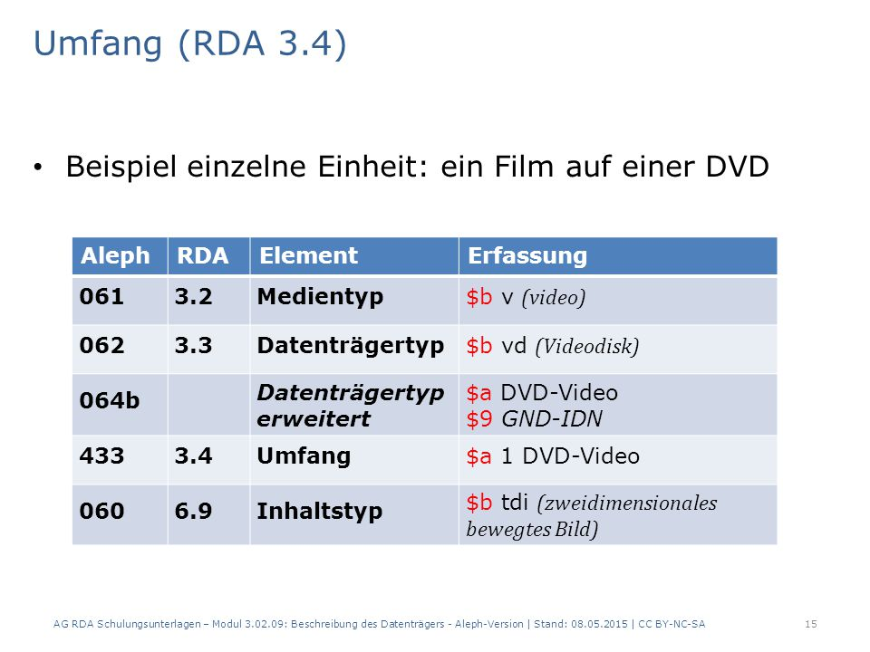 Umfang (RDA 3.4) Beispiel einzelne Einheit: ein Film auf einer DVD AlephRDAElementErfassung 0613.2Medientyp $b v (video) 0623.3Datenträgertyp $b vd (Videodisk) 064b Datenträgertyp erweitert $a DVD-Video $9 GND-IDN 4333.4Umfang$a 1 DVD-Video 0606.9Inhaltstyp $b tdi (zweidimensionales bewegtes Bild) AG RDA Schulungsunterlagen – Modul 3.02.09: Beschreibung des Datenträgers - Aleph-Version | Stand: 08.05.2015 | CC BY-NC-SA15