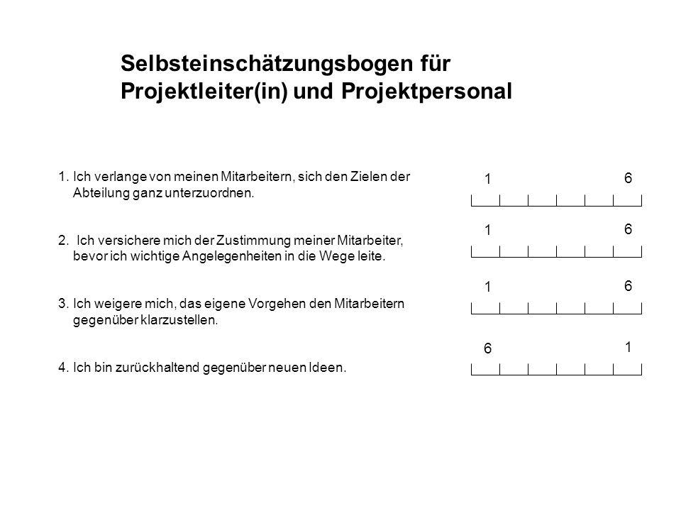 Selbsteinschätzungsbogen für Projektleiter(in) und Projektpersonal 1 6 1. Ich verlange von meinen Mitarbeitern, sich den Zielen der Abteilung ganz unt