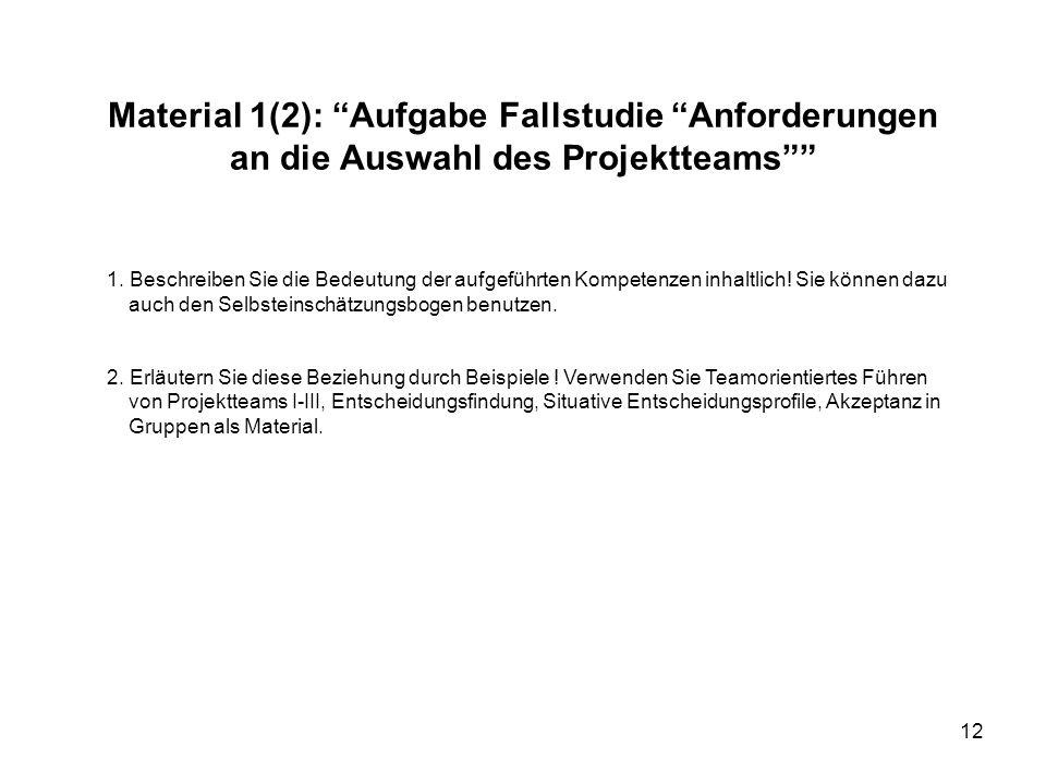 """12 Material 1(2): """"Aufgabe Fallstudie """"Anforderungen an die Auswahl des Projektteams"""""""" 1. Beschreiben Sie die Bedeutung der aufgeführten Kompetenzen i"""