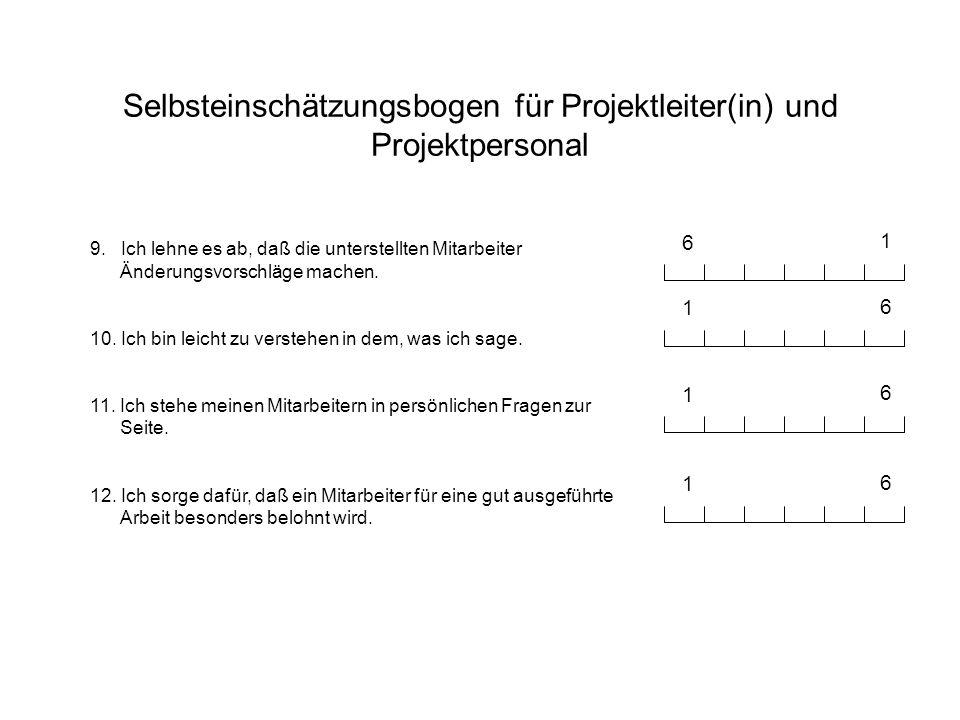 Selbsteinschätzungsbogen für Projektleiter(in) und Projektpersonal 9. Ich lehne es ab, daß die unterstellten Mitarbeiter Änderungsvorschläge machen. 1