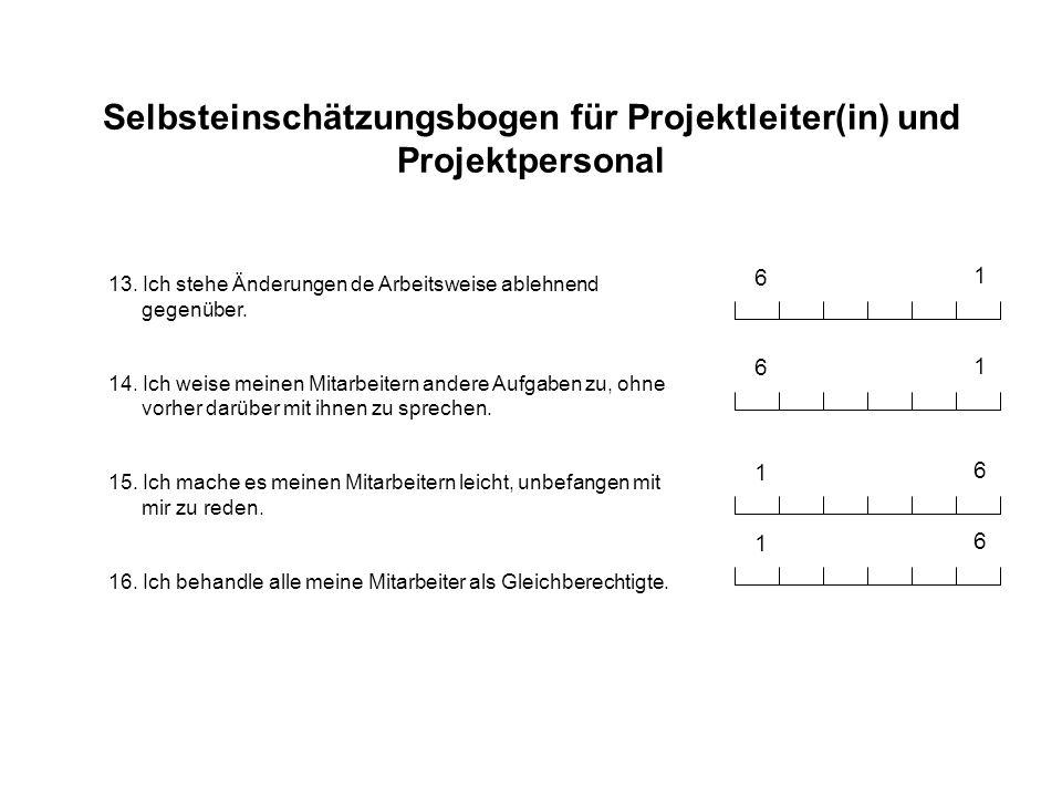 Selbsteinschätzungsbogen für Projektleiter(in) und Projektpersonal 13. Ich stehe Änderungen de Arbeitsweise ablehnend gegenüber. 14. Ich weise meinen
