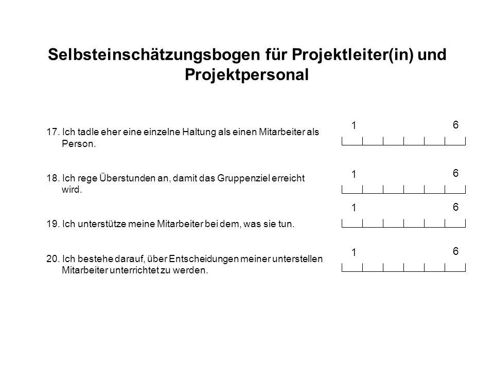 Selbsteinschätzungsbogen für Projektleiter(in) und Projektpersonal 17. Ich tadle eher eine einzelne Haltung als einen Mitarbeiter als Person. 18. Ich
