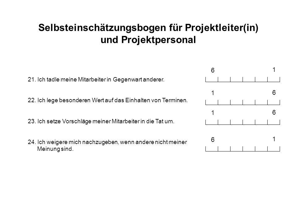 Selbsteinschätzungsbogen für Projektleiter(in) und Projektpersonal 21. Ich tadle meine Mitarbeiter in Gegenwart anderer. 22. Ich lege besonderen Wert