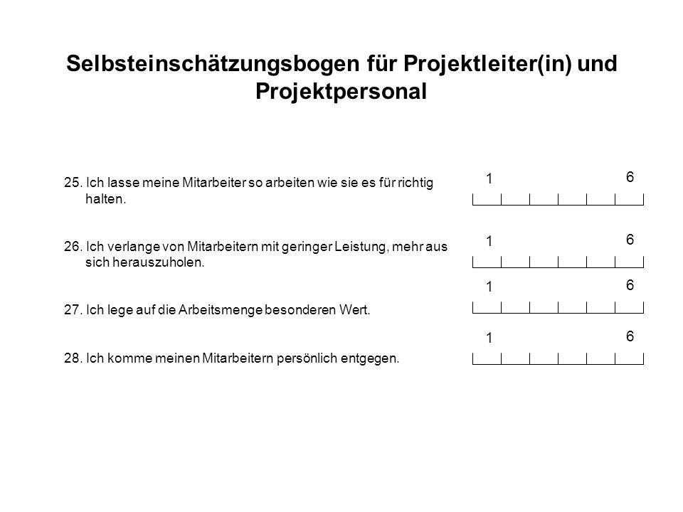 Selbsteinschätzungsbogen für Projektleiter(in) und Projektpersonal 29.