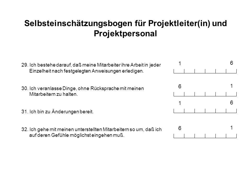 Selbsteinschätzungsbogen für Projektleiter(in) und Projektpersonal 29. Ich bestehe darauf, daß meine Mitarbeiter ihre Arbeit in jeder Einzelheit nach