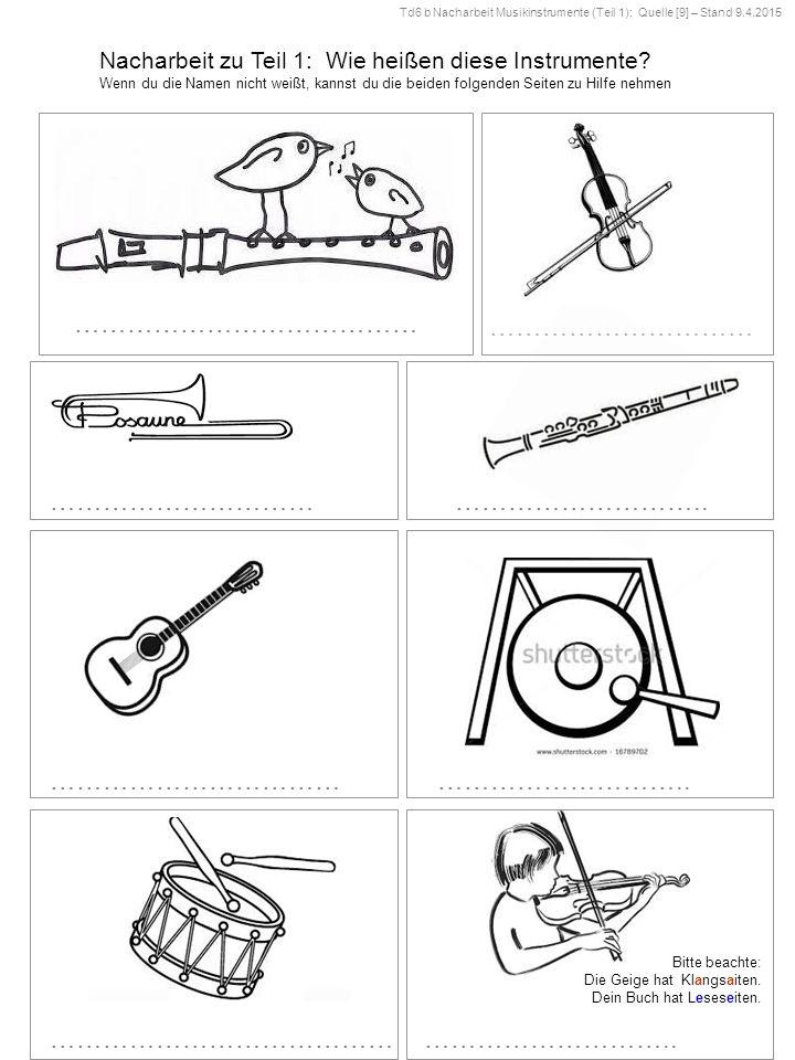 Nacharbeit zu Teil 1: Wie heißen diese Instrumente.