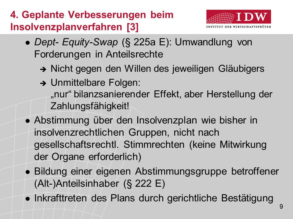 9 4. Geplante Verbesserungen beim Insolvenzplanverfahren [3] Dept- Equity-Swap (§ 225a E): Umwandlung von Forderungen in Anteilsrechte  Nicht gegen d