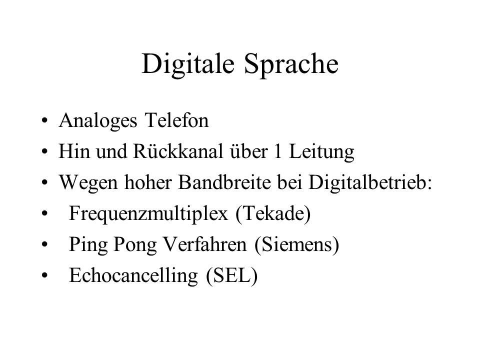 Digitale Sprache Analoges Telefon Hin und Rückkanal über 1 Leitung Wegen hoher Bandbreite bei Digitalbetrieb: Frequenzmultiplex (Tekade) Ping Pong Verfahren (Siemens) Echocancelling (SEL)