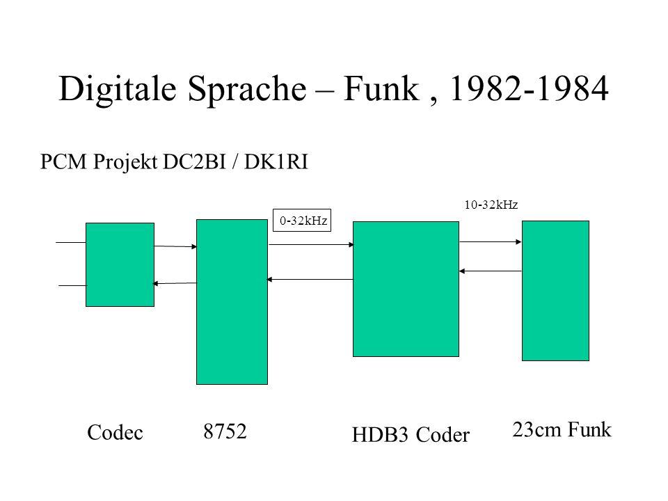 Digitale Sprache – Funk, 1982-1984 Codec 8752 23cm Funk HDB3 Coder 0-32kHz PCM Projekt DC2BI / DK1RI 10-32kHz