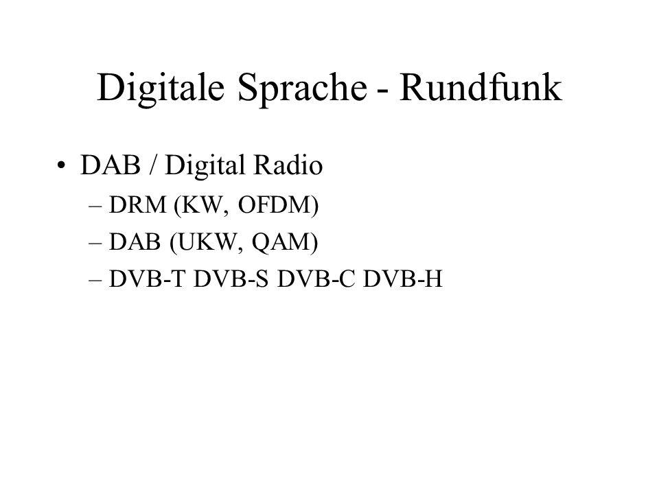 Digitale Sprache - Rundfunk DAB / Digital Radio –DRM (KW, OFDM) –DAB (UKW, QAM) –DVB-T DVB-S DVB-C DVB-H
