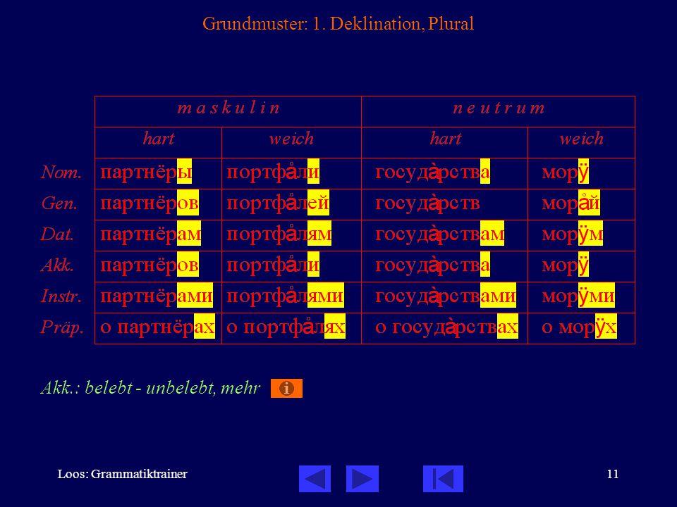 Loos: Grammatiktrainer11 Grundmuster: 1. Deklination, Plural Akk.: belebt - unbelebt, mehr