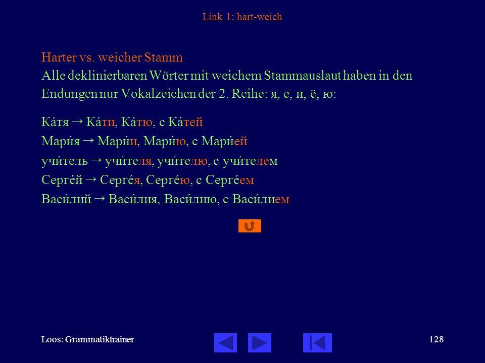 Loos: Grammatiktrainer128 Link 1: hart-weich Harter vs.