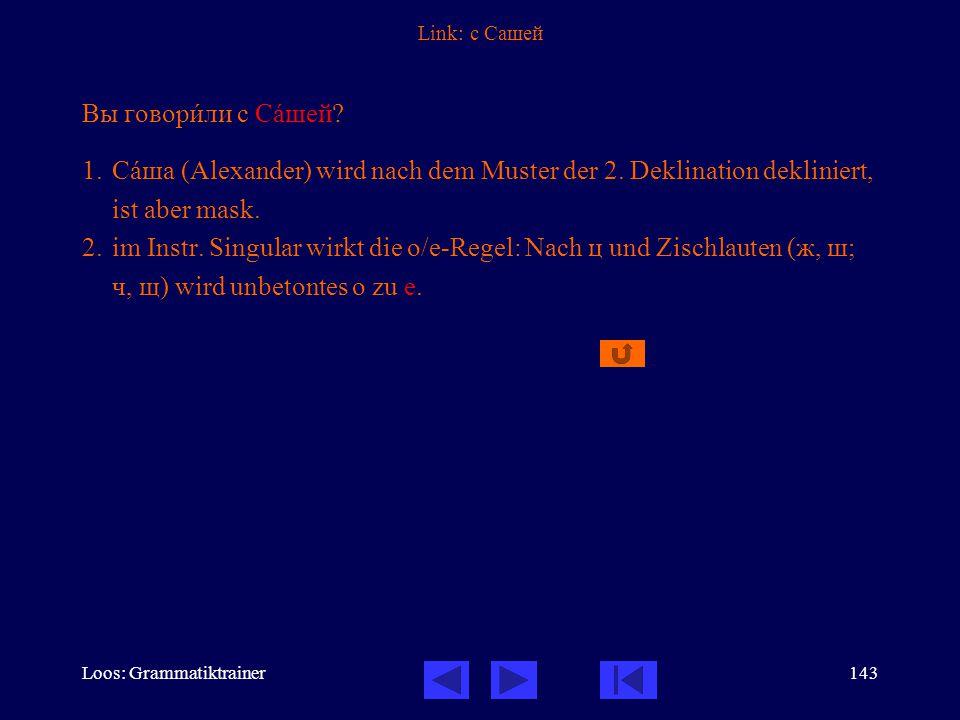 Loos: Grammatiktrainer143 Link: с Сашей Вы говорèли с Сàшей.
