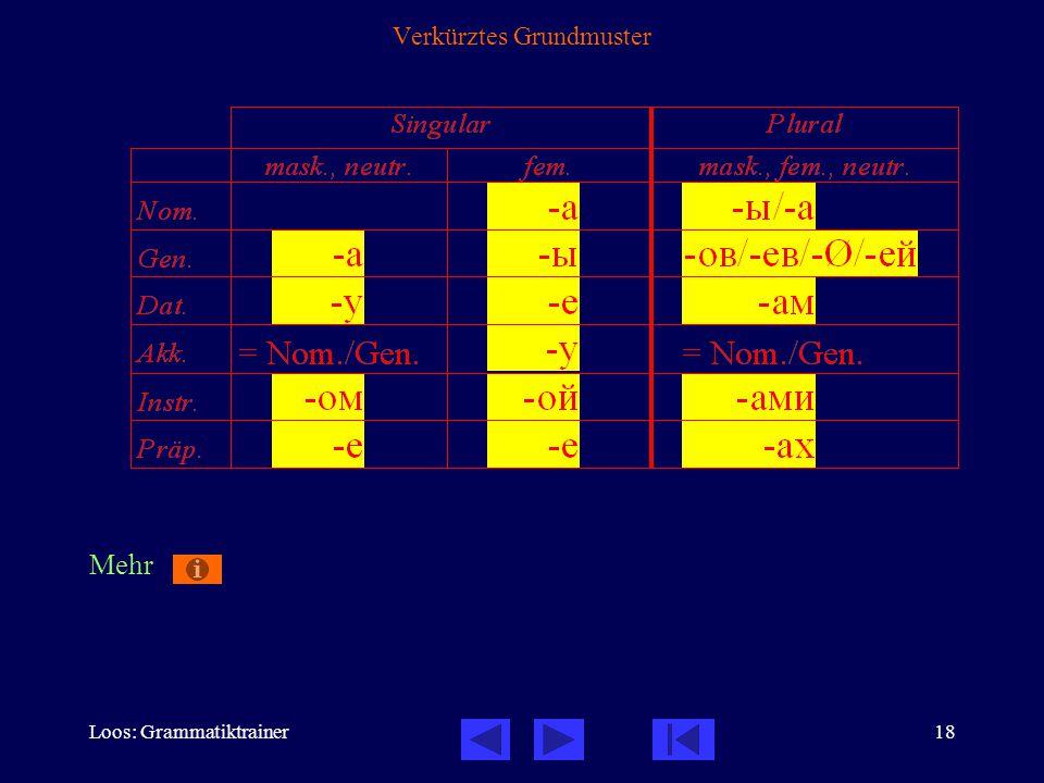 Loos: Grammatiktrainer18 Verkürztes Grundmuster Mehr