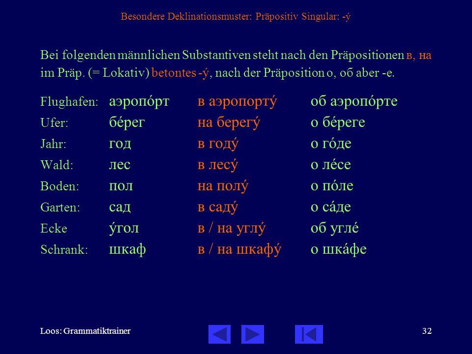 Loos: Grammatiktrainer32 Besondere Deklinationsmuster: Präpositiv Singular: -ó Bei folgenden männlichen Substantiven steht nach den Präpositionen в, на im Präp.