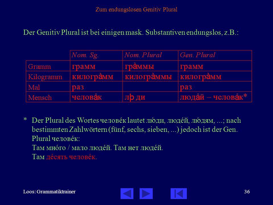 Loos: Grammatiktrainer36 Zum endungslosen Genitiv Plural Der Genitiv Plural ist bei einigen mask.