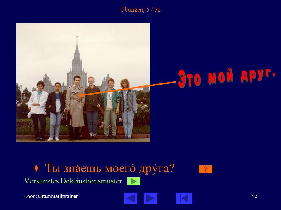 Loos: Grammatiktrainer42 Übungen, 5 / 62  Ты знàешь моегî _____.