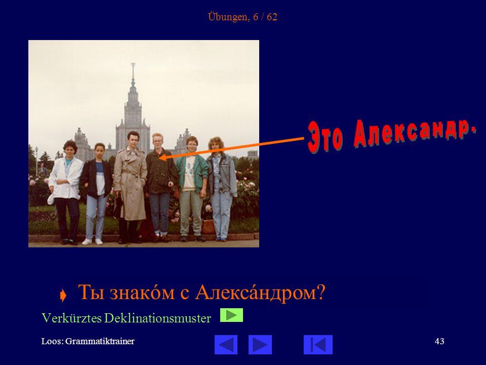 Loos: Grammatiktrainer43 Übungen, 6 / 62  Ты знакîм с ______________ .
