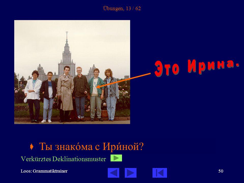 Loos: Grammatiktrainer50 Übungen, 13 / 62  Ты знакîма с ______.