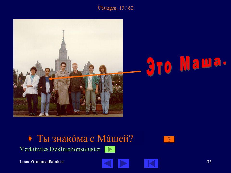 Loos: Grammatiktrainer52 Übungen, 15 / 62  Ты знакîма с _____ .