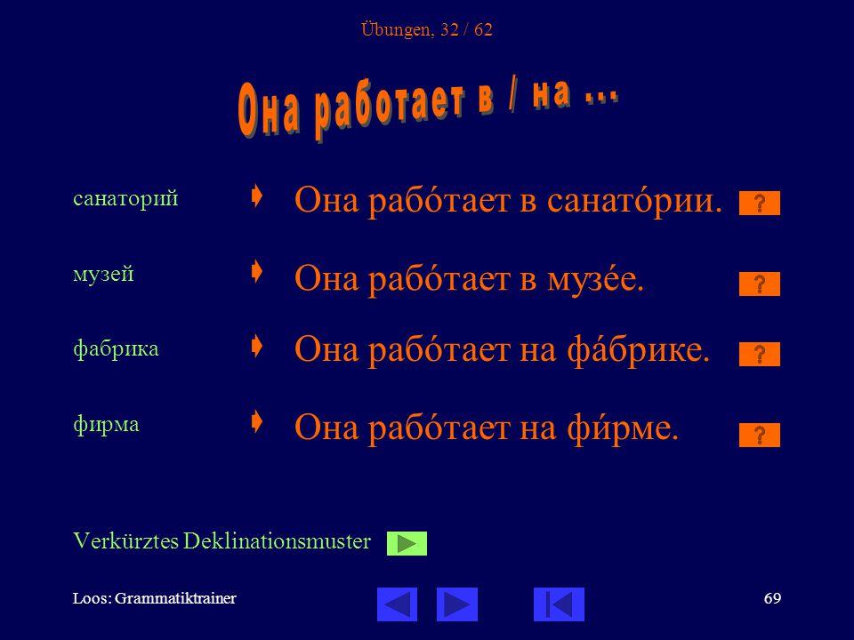 Loos: Grammatiktrainer69 Übungen, 32 / 62 санаторий  музей  фабрика  фирма  Verkürztes Deklinationsmuster Она рабîтает в санатîрии.