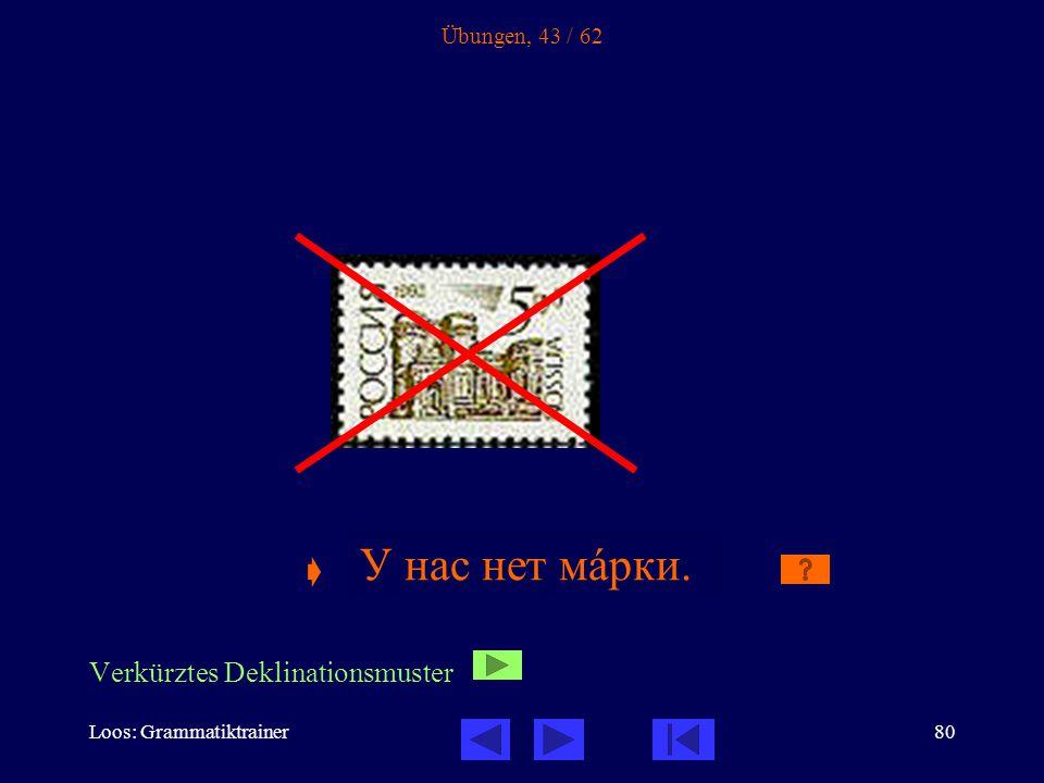 Loos: Grammatiktrainer80 Übungen, 43 / 62  У нас нет ______.