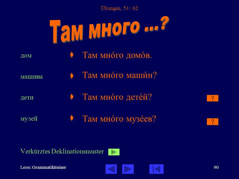Loos: Grammatiktrainer90 Übungen, 53 / 62 дом  машина  дети  музей  Verkürztes Deklinationsmuster Там мнîго домîв.