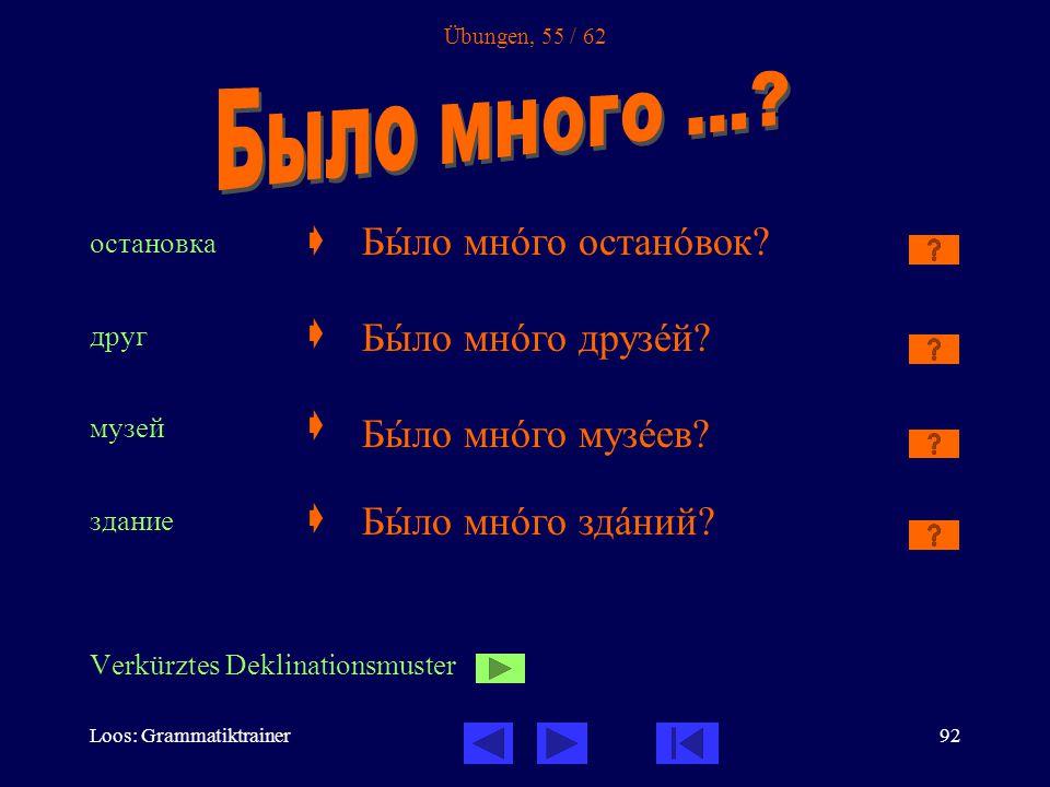 Loos: Grammatiktrainer92 Übungen, 55 / 62 остановка  друг  музей  здание  Verkürztes Deklinationsmuster Бûло мнîго останîвок.