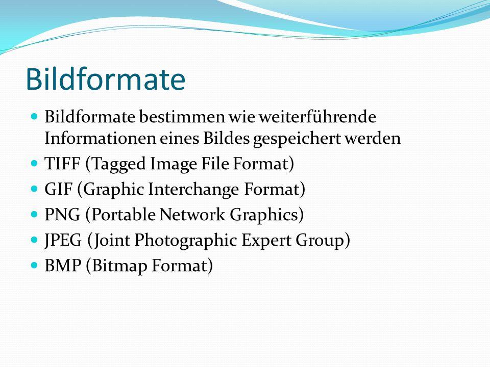 Bildformate Bildformate bestimmen wie weiterführende Informationen eines Bildes gespeichert werden TIFF (Tagged Image File Format) GIF (Graphic Interc