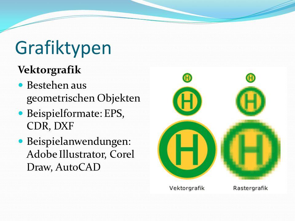 Grafiktypen Vektorgrafik Bestehen aus geometrischen Objekten Beispielformate: EPS, CDR, DXF Beispielanwendungen: Adobe Illustrator, Corel Draw, AutoCA