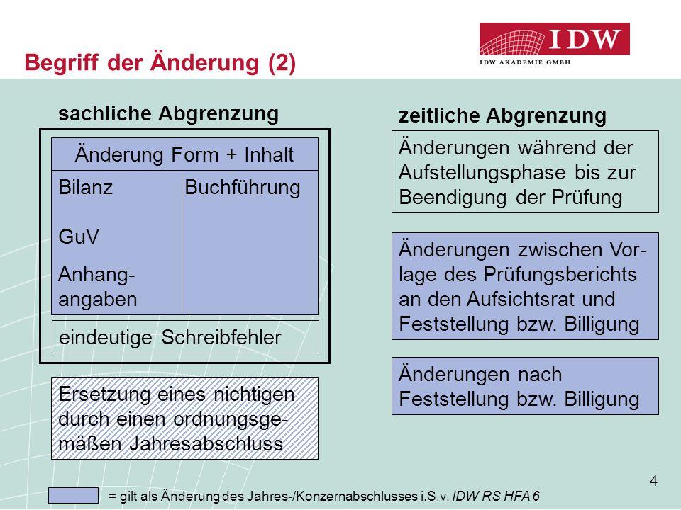 4 Begriff der Änderung (2) sachliche Abgrenzung Bilanz Buchführung GuV Anhang- angaben Änderung Form + Inhalt eindeutige Schreibfehler Ersetzung eines