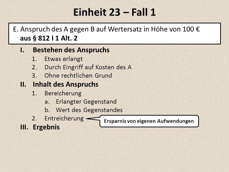Einheit 23 – Fall 1 I.Bestehen des Anspruchs 1.Etwas erlangt 2.Durch Eingriff auf Kosten des A 3.Ohne rechtlichen Grund II.Inhalt des Anspruchs 1.Bere
