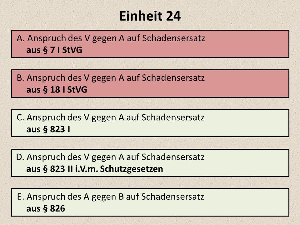 Einheit 24 A.Anspruch des V gegen A auf Schadensersatz aus § 7 I StVG B.