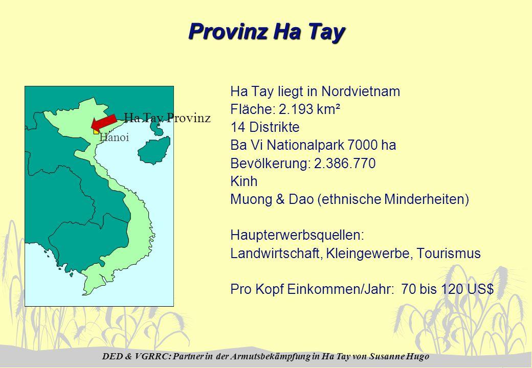 DED & VGRRC: Partner in der Armutsbekämpfung in Ha Tay von Susanne Hugo Provinz Ha Tay Ha Tay liegt in Nordvietnam Fläche: 2.193 km² 14 Distrikte Ba Vi Nationalpark 7000 ha Bevölkerung: 2.386.770 Kinh Muong & Dao (ethnische Minderheiten) Haupterwerbsquellen: Landwirtschaft, Kleingewerbe, Tourismus Pro Kopf Einkommen/Jahr: 70 bis 120 US$ Ha Tay Provinz Hanoi