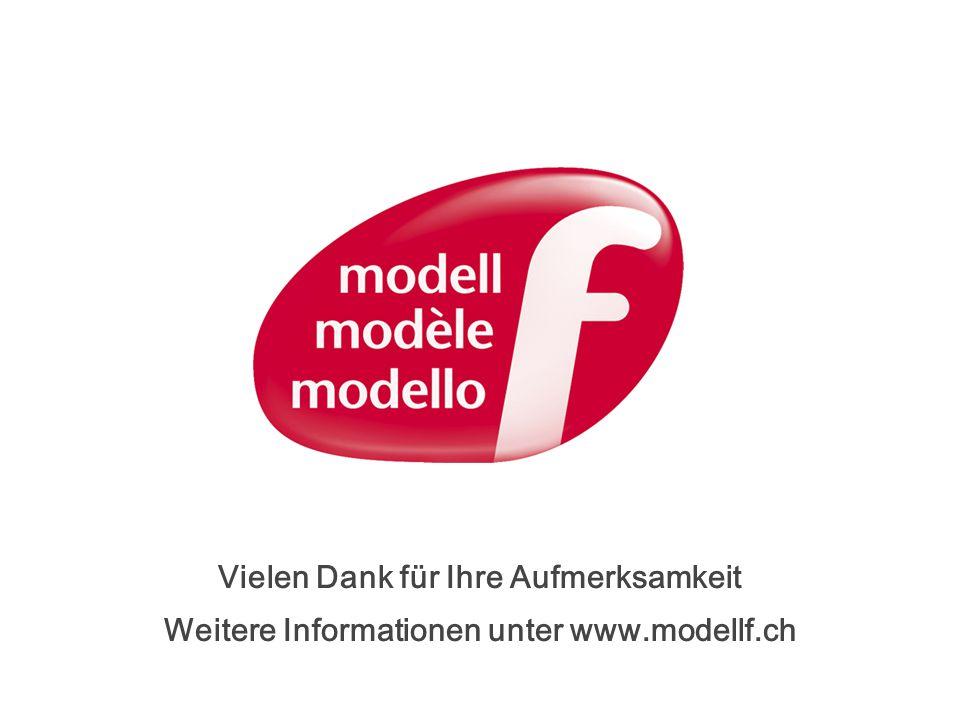 Vielen Dank für Ihre Aufmerksamkeit Weitere Informationen unter www.modellf.ch