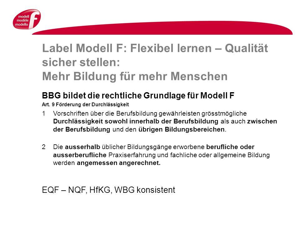 Label Modell F: Flexibel lernen – Qualität sicher stellen: Mehr Bildung für mehr Menschen BBG bildet die rechtliche Grundlage für Modell F Art.