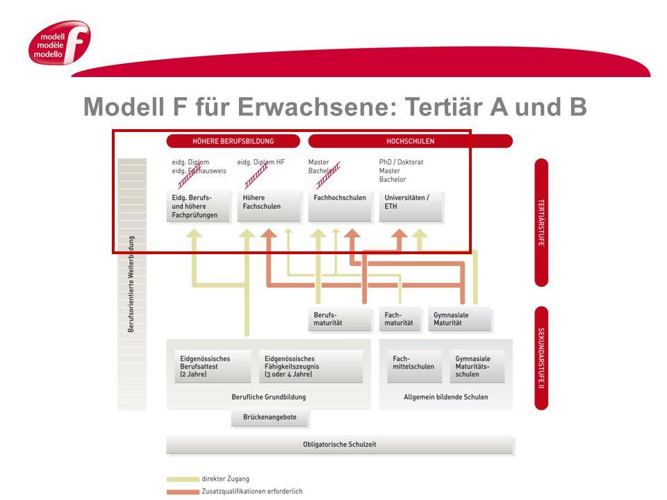 Modell F für Erwachsene: Tertiär A und B
