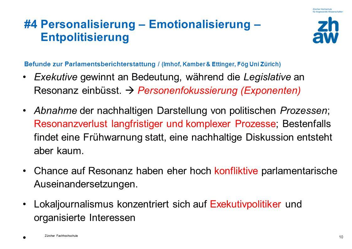 #4 Personalisierung – Emotionalisierung – Entpolitisierung Befunde zur Parlamentsberichterstattung / (Imhof, Kamber & Ettinger, Fög Uni Zürich) Exekutive gewinnt an Bedeutung, während die Legislative an Resonanz einbüsst.