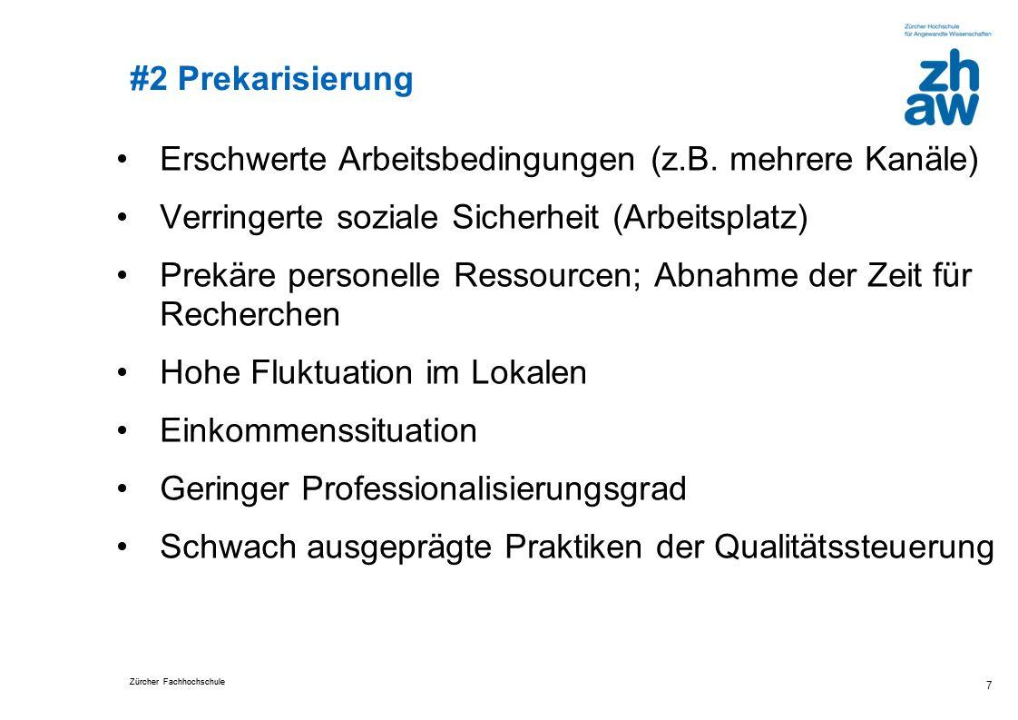Zürcher Fachhochschule #2 Prekarisierung Erschwerte Arbeitsbedingungen (z.B.