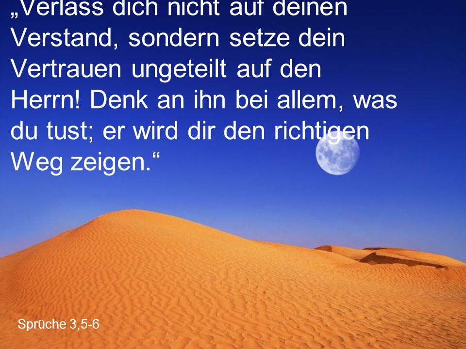 """Sprüche 3,5-6 """"Verlass dich nicht auf deinen Verstand, sondern setze dein Vertrauen ungeteilt auf den Herrn! Denk an ihn bei allem, was du tust; er wi"""