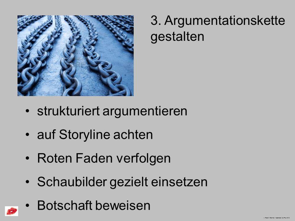 3. Argumentationskette gestalten strukturiert argumentieren auf Storyline achten Roten Faden verfolgen Schaubilder gezielt einsetzen Botschaft beweise