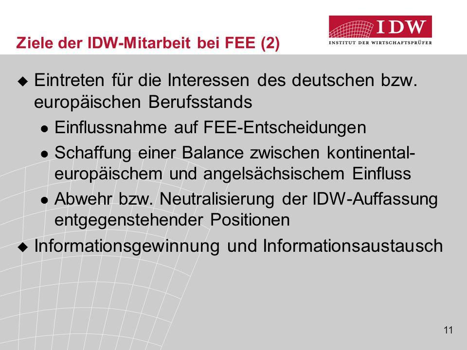 11 Ziele der IDW-Mitarbeit bei FEE (2)  Eintreten für die Interessen des deutschen bzw. europäischen Berufsstands Einflussnahme auf FEE-Entscheidunge