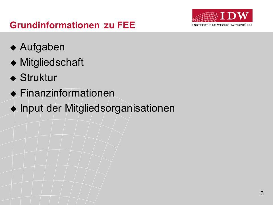 3 Grundinformationen zu FEE  Aufgaben  Mitgliedschaft  Struktur  Finanzinformationen  Input der Mitgliedsorganisationen