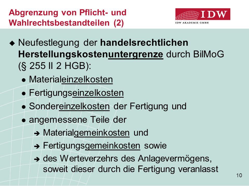 10 Abgrenzung von Pflicht- und Wahlrechtsbestandteilen (2)  Neufestlegung der handelsrechtlichen Herstellungskostenuntergrenze durch BilMoG (§ 255 II