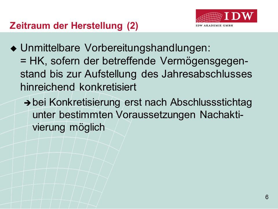 17 Aufbau des IDW ERS HFA 31  Definition  Zeitraum der Herstellung  Abgrenzung von Pflicht- und Wahlrechts- bestandteilen  Eliminierung von Leerkosten  Einbeziehung von Fremdkapitalzinsen  Zölle und Verbrauchsteuern