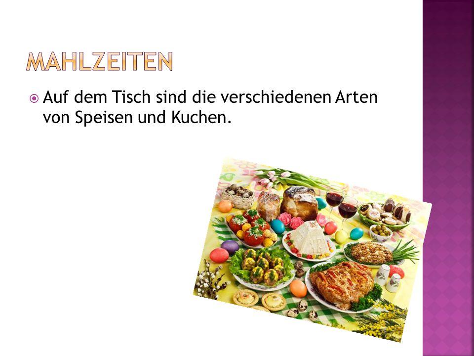  Auf dem Tisch sind die verschiedenen Arten von Speisen und Kuchen.