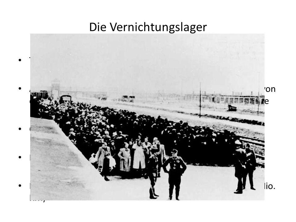 """Transport Ankunft und """"Selektion"""" (nur """"Arbeitsfähige"""" wurden von den Gaskammern verschont)  Alte, Kinder, Frauen, Kranke Gaskammern (Tötung durch Ko"""